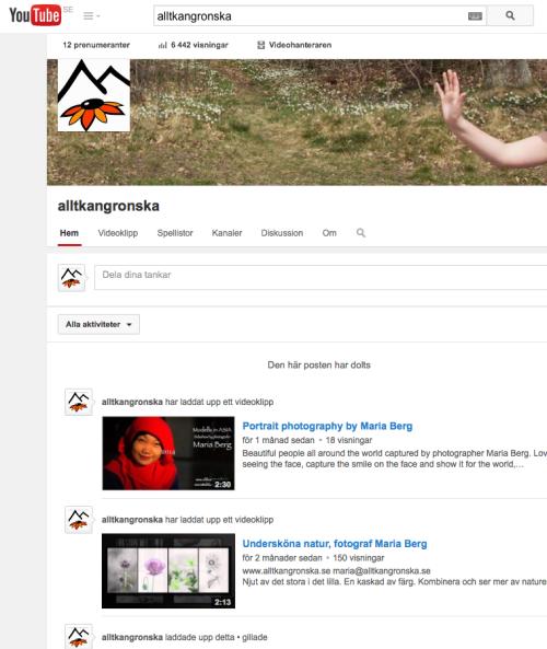 Fotograf Maria Berg på Youtube, alltkangronska